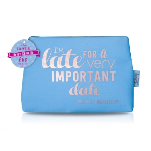 Disney NGU Quotes Cosmetic Bag Blue - I'm Late for an important date