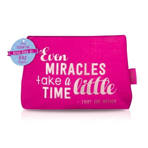 Disney NGU Quotes Cosmetic Bag Pink - Even Miracles Take a little Time